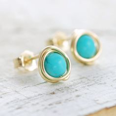 Turquoise Post Earrings Wrapped in 14k Gold Fill, December Birthstone Jewelry, Handmade, aubepine by aubepine on Etsy https://www.etsy.com/listing/75454119/turquoise-post-earrings-wrapped-in-14k