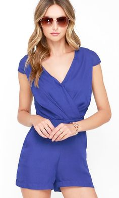Across the Way Royal Blue Romper