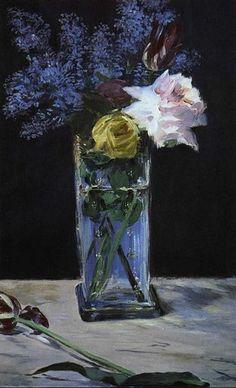 Édouard Manet: Rosas, tulipanes y Lilas en un florero de cristal