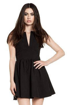 DailyLook: DAILYLOOK Plunging Fit and Flare Dress in Black S - L