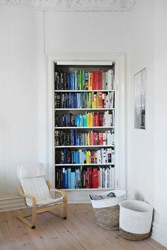Funky Rainbow Bookshelf In A Reading Corner