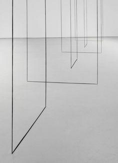 Fred Sandback (1943-2003), Untitled (Sculptural Study, Six-part Construction) (detail), ca. 1977/2008. Black acrylic yarn, Courtesy David Zwirner Gallery.