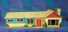 Vintage 1950s Marx Ranch Dolls House Dollhouse Tin Metal w Vintage Furn 54pc~~