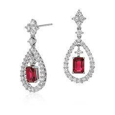 Ruby and Diamond Drop Earrings in 18k White Gold (2.31 cts)
