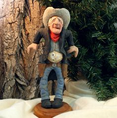 Gunfighter, caricature, wood carving, OOAK, gift for men, fathers day, birthday, anniversary, western decor, carving by Dan Easley