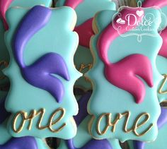 Mermaid Under The Sea Birthday Cookies - 1 Dozen Pcs) by Dolce Custom Cookies on Gourmly Gourmet Cookies, Fancy Cookies, Cut Out Cookies, Iced Cookies, Cute Cookies, Sugar Cookies, Sugar Cookie Frosting, Royal Icing Cookies, Cupcakes