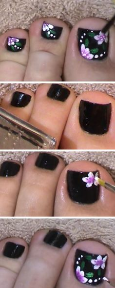 Black & Flowers Toenail Art Design   18 DIY Toe Nail Designs for Summer Beach   Easy Toenail Art Designs for Beginners