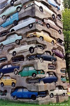 """Long-Term Parking"" - garden of the Fondation Cartier in Jouy-en-Josas, Paris. (Art by Arman)"