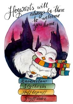 Print Hogwarts Owl and Letter Fandom art print Harry
