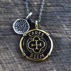 Carpe Diem Pendant Gold Silver Mens Necklace by carpediemjewellery