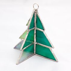 Stained Glass Green 3D Christmas Tree Ornament Three Dimensional Glass Tree