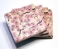 Cherry Blossom Coasters - 100 coasters, wedding favors, party favors, customize with name/date by LaughingTaffyCoaster on Etsy https://www.etsy.com/listing/120060121/cherry-blossom-coasters-100-coasters