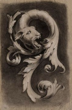 — Dragon head with Acanthus leaves. Crayon drawing...