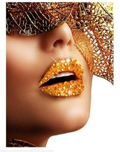 Buy this gold glitter and rhinestone stick on lip makeup online now. Gold kisses stick on makeup to add some bling to your sexy fancy dress costume! This sassy gold costume makeup with rhinestones is available to ship express post Australia wide today. Glitter Lipstick, Black Lipstick, Lipgloss, Mardi Gras, Face Rhinestones, Glamour Moda, Orange Lips, High Fashion Makeup, Fashion Art