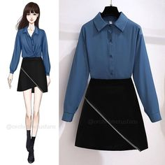 Teen Fashion Outfits, Stylish Outfits, Cool Outfits, Fashion Dresses, Skirt Outfits Modest, Sleeves Designs For Dresses, Dress Clothes For Women, Classic Skirts, Korean Fashion