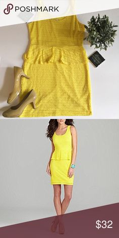 "Gianni Bini Yellow Peplum Dress Gianni Bini Yellow Peplum Dress in Excellent Condition. Yellow lining under dress. Perfect for Spring! Approximate measurements laying flat: bust 18"", waist 16"", hips 19"". 👗👛👠👙👕Bundle & Save! Gianni Bini Dresses"