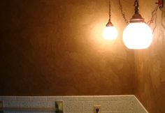 brown paper wall treatment