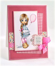 cute handmade card ... pinks!!! ... luv the Copic coloring of the sweet little girl holding a balloon ...
