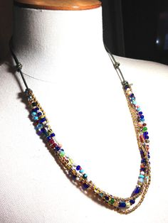 BOHO glass and leather necklace seed bead by westhillstudiojewel