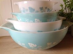 A personal favourite from my Etsy shop https://www.etsy.com/uk/listing/182050193/pyrex-cinderella-mixing-bowl-set-in-duck