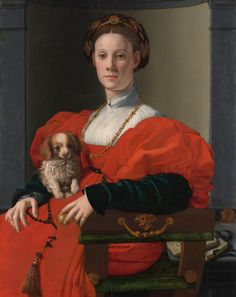 Agnolo Bronzino (1503–1572): Bildnis einer Dame in Rot (Francesca Salviati?), um…