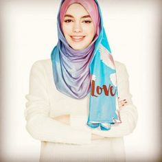 Items similar to Love and Peace Designer Hijab Scarf in Blue and Pink on Etsy Black Veil, Peace And Love, Vintage Fashion, Feminine, Long Black, Pink, How To Wear, Designers, Blue