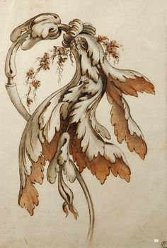 Project for Foliaged Scrollwork. 18th.century. attributed to Jean Pillement. French 1728-1808. pen ink red chalk on paper. http://hadrian6.tumblr.com