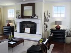Fireplace idea to do in a distressed black paint