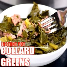 Instant Pot Southern Collard Greens is a quick and easy electric pressure cooker recipe seasoned with smoked turkey. You can also use mustard or turnip greens. These collards can be cooked with bacon, Instant Pot Collard Greens Recipe, Crockpot Collard Greens, Cooking Collard Greens, Collard Greens With Bacon, Southern Collard Greens, Collard Greens Recipe With Bacon, Mustard Greens Recipe Southern, Collard Green Seasoning, Gourmet