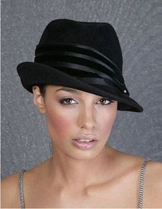 cd822acd37e Black womens fashion trend felt fedora hat short brim Fedora Hat Women