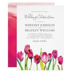 Elegant Pink Spring Tulip Garden Wedding Card - spring gifts beautiful diy spring time new year Wedding Reception Games, Summer Wedding Invitations, Wedding Shower Favors, Diy Invitations, Elegant Wedding Invitations, Wedding Invitation Cards, Wedding Cards, Wedding Gifts, Tulip Wedding