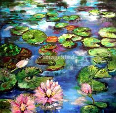 """Lily Pond Reflections Original Painting by Ginette"" by Ginette Callaway, Georgia // Blue sky reflecting in this sparkling lily pond with pink blossoms. From original painting. The original is sold. // Imagekind.com -- Buy stunning, museum-quality fine art prints, framed prints, and canvas prints directly from independent working artists and photographers."