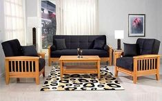 images of on line retails www designonwood in wallpaper Latest Wooden Sofa Designs, Wooden Sofa Set Designs, Sofa Bed Design, Room Furniture Design, Teak Furniture, Furniture Showroom, Sala Set, Blue And White Living Room, Pooja Room Door Design
