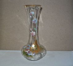 AMAZINGLY Gorgeous DON BOUTZ Rare FINELY Hand Painted ART Glass VASE 1940s-1950s