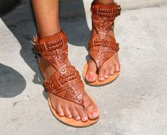 Tan, chunky gladiator style sandals with braiding. I die. These are freaking amazing!