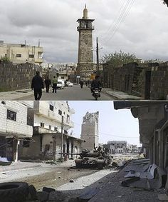 A once beautiful monument lays in crumbles. Devastation and destruction are evident throughout Syria by images like this.
