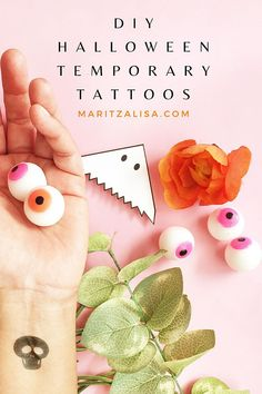 So EASY! How to make DIY Temporary Tattoos For Halloween! Care Skin Condition and Treatment Oil Makeup Easy Crafts, Diy And Crafts, Paper Crafts, Kid Crafts, Diy Halloween Decorations, Halloween Crafts, Easy Halloween, Halloween Party, Craft Tutorials