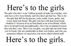 here's to the girls:)
