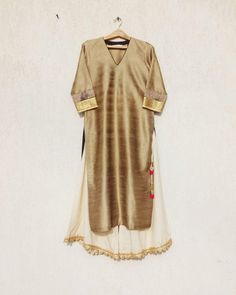 Gold Lust Silk Kurti with Scalloped Hem Pallazo's by House of Tamiraa. For personal orders and enquiries kindly contact us on 7039883483. https://www.facebook.com/houseoftamiraa/