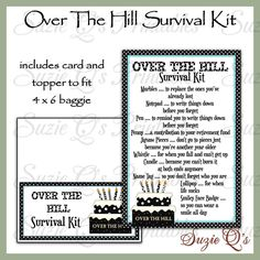 Over The Hill Survival Kit includes Topper and Card - Digital Printable - Immediate Download by SuzieQsCrafts on Etsy