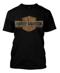 Harley Davidson Mens Distressed Elongated Bar and Shield Black Tee