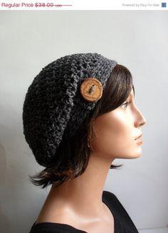 4a455c83e6d ON SALE Crochet Slouchy Beanie Hat - Handmade Grey Hat - Button Tab Slouchy  Hat Winter