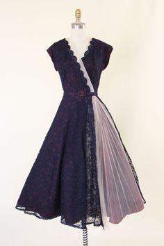 1950s Party Dress Vintage 50s Dress Navy Plum by jumblelaya