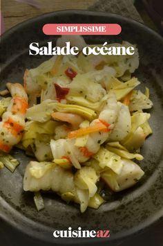 Dans cette recette de salade océane, il y a du surimi, des cœurs d'artichaut et des crevettes. #recette#cuisine #salade #surimi #artichaut #crevette Chicken, Food, Pasta Salad, Chopped Salads, Dish, Shrimp, Essen, Meals, Yemek