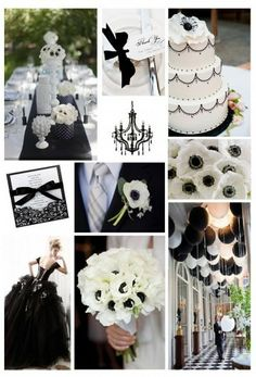 "FOR MY BRIDES!!! WHO WOULD LOVE TO GO WITH A ""BLACK TIE WEDDING THEME"", BLACK & WHITE COLOR OF CHOICE? HERE'S A FEW AMAZING IDEAS"