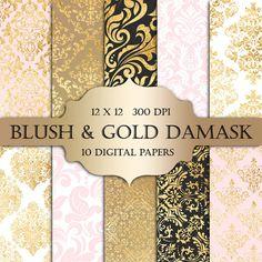Blush & oro Damasco Digital papel - scrapbooking de oro Damasco metálico…