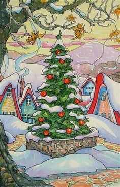 """""""The Yuletide Tree"""" Storybook Cottage Series - Original Fine Art © Alida Akers. Noel Christmas, Vintage Christmas Cards, Christmas Images, Xmas, Storybook Cottage, Cottage Art, Christmas Illustration, Illustration Art, Watercolor Cards"""