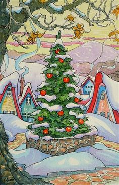 """""""The Yuletide Tree"""" Storybook Cottage Series - Original Fine Art © Alida Akers, www.dailypaintworks.com/fineart/alida-akers/the-yuletide-tree-storybook-cottage-series/186100"""