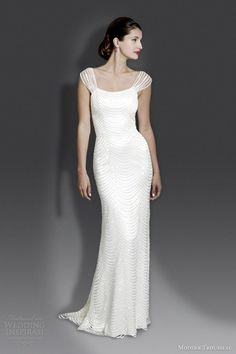 modern trousseau bridal fall 2014 pandora cap sleeve gown. perfect for a 20s wedding.