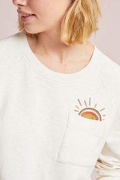 Slide View: M.h Sun Pocket Sweatshirt Simple Embroidery Designs, Floral Embroidery Patterns, Couture Embroidery, Embroidery Fashion, Diy Embroidery, Embroidery On Tshirt, Embroidery On Clothes, Embroidered Clothes, Jean Diy